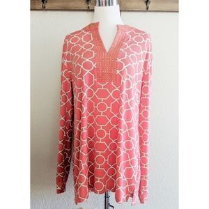 Beautiful coral and gold patterned top